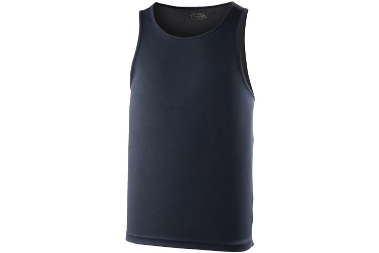 Just Cool Mens Sports Gym Plain Tank / Vest Top (French Navy) (2XL)