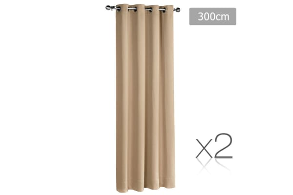 Set of 2 ArtQueen 3 Pass Eyelet Blockout Curtain (Latte) 300cm
