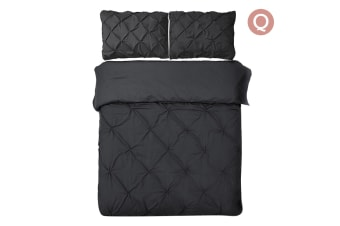 Giselle Bedding Diamond Stitch Quilt Cover Set (Queen/Black)