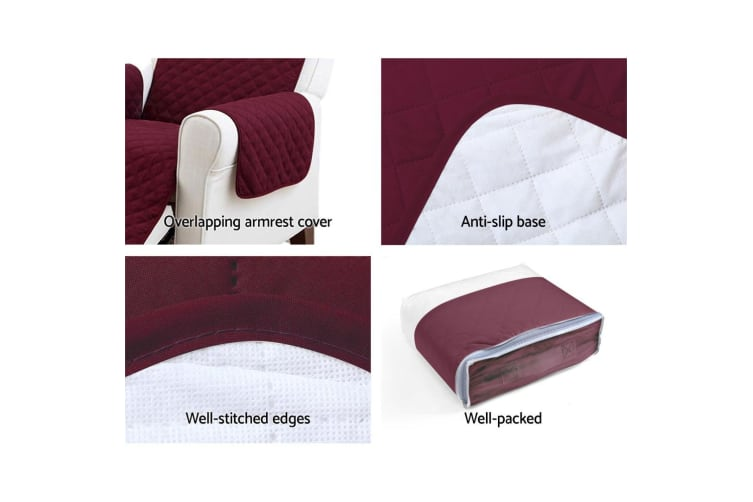 Artiss Sofa Cover Quilted Couch Covers Lounge Protector Slipcovers 3 Seater Red