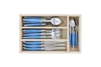 24pc Andre Verdier Laguiole Debutant S S Cutlery Set w Spoons Knives Forks Blue