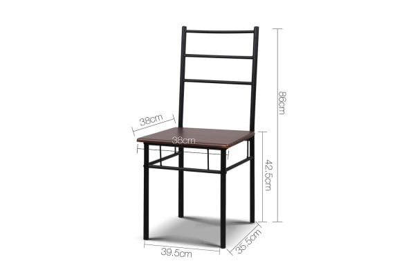 Industrial Dining Table and Chairs Set Walnut and (Black)