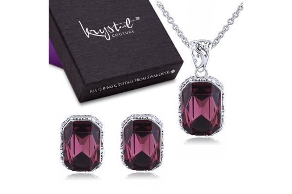 Majestic Emerald Ruby Necklace & Earrings Set-White Gold/Burgundy