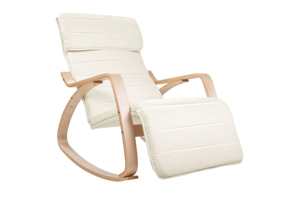 Birch Plywood Adjustable Rocking  Lounge Arm Chair with Fabric Cushion (Beige)