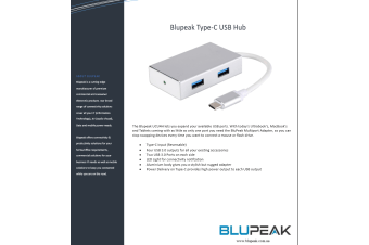 BLUPEAK USB-C TO 4 X USB-A 3.0 HUB (2 YEAR WARRANTY)