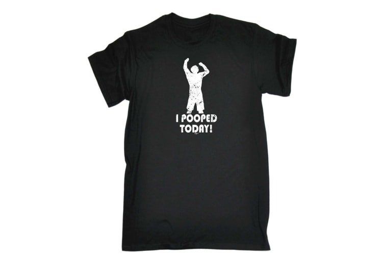 123T Funny Tee - I Pooped Today - (5X-Large Black Mens T Shirt)