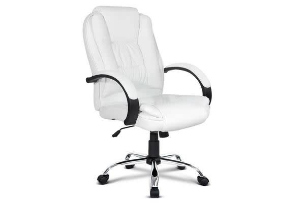 Pu Leather Padded Office Computer Chair White