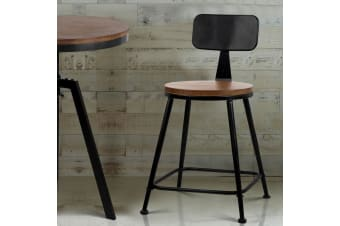 Artiss 2x Vintage Bar Stools Chairs Retro Industrial Wooden Bar stool Kitchen