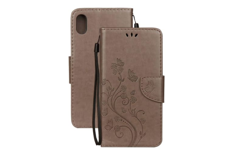 For iPhone XR Case Grey Embossed Butterfly Pattern Folio Leather Case