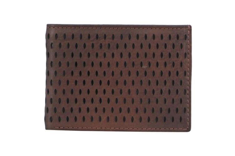 Pierre Cardin Mens Italian Leather Perforated Wallet 11 X 10cm-brown