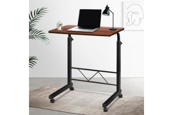 Mobile Laptop Desk Computer Table Stand Adjustable Sit Stand Desk Wooden Bed Bedside Portable Sofa Bedroom Study Office Desks w/ Wheels Walnut
