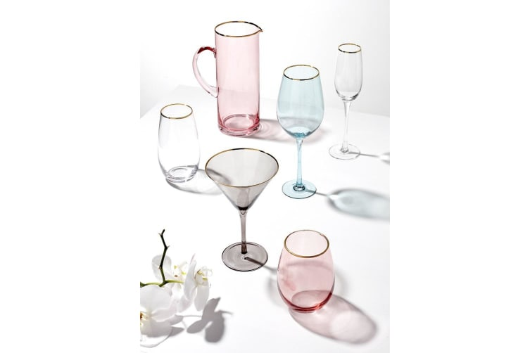 Ladelle Chloe Champagne Glass Set of 4 Peach Gold