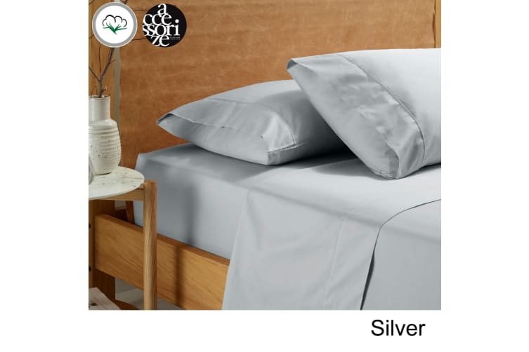 Vintage Washed Cotton Sheet Set Silver Queen