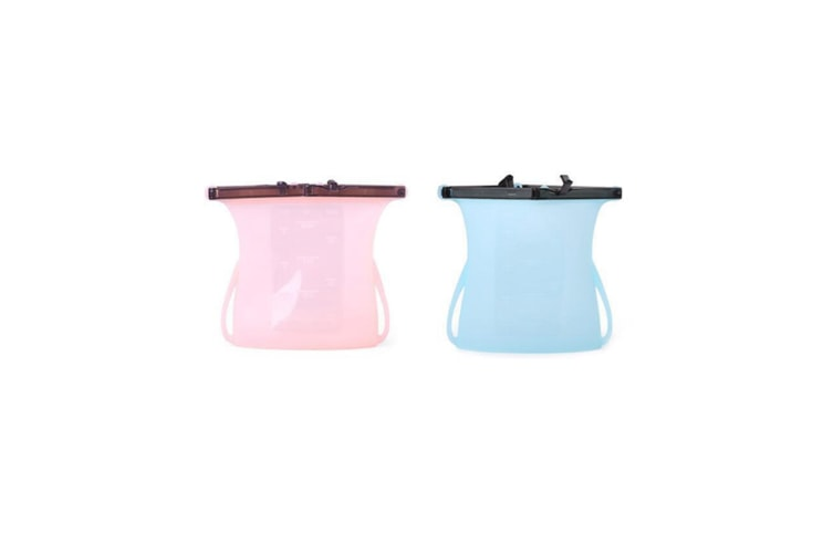 2 Pcs High Temperature Resistance Reusable Silicone Food Storage Bags - Pink+Blue Pink