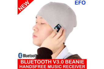 Bluetooth V3.0 Wireless Handsfree Phone Music Receiver Beanie Knitted Hat Grey