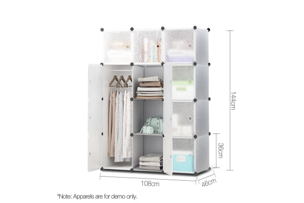 12 Stackable Cube Storage Cabinet (White Swirl)