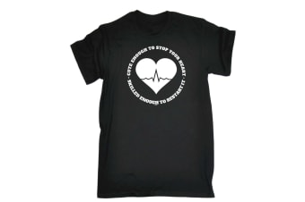 123T Funny Tee - Cute Enough To Stop Your Heart - (3X-Large Black Mens T Shirt)