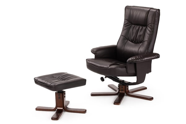 Ovela Faux Leather Recliner Chair with Ottoman (Brown)