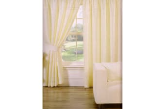 Trieste Leaf Pattern Fully Lined Pencil Pleat Curtains (Natural) (46 x 54 (117cm x 137cm))