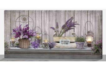 LED Light Up 35x70 cm  Canvas Pictures Xmas Picture Wall Hanging Decor - Lavender