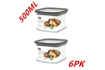 6 x Pantry Storage Food Containers 500ML Bin Canister Kitchen Organizer Jars