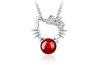 Hello Kitty Red Agate Necklace-White Gold/Pearl/Red