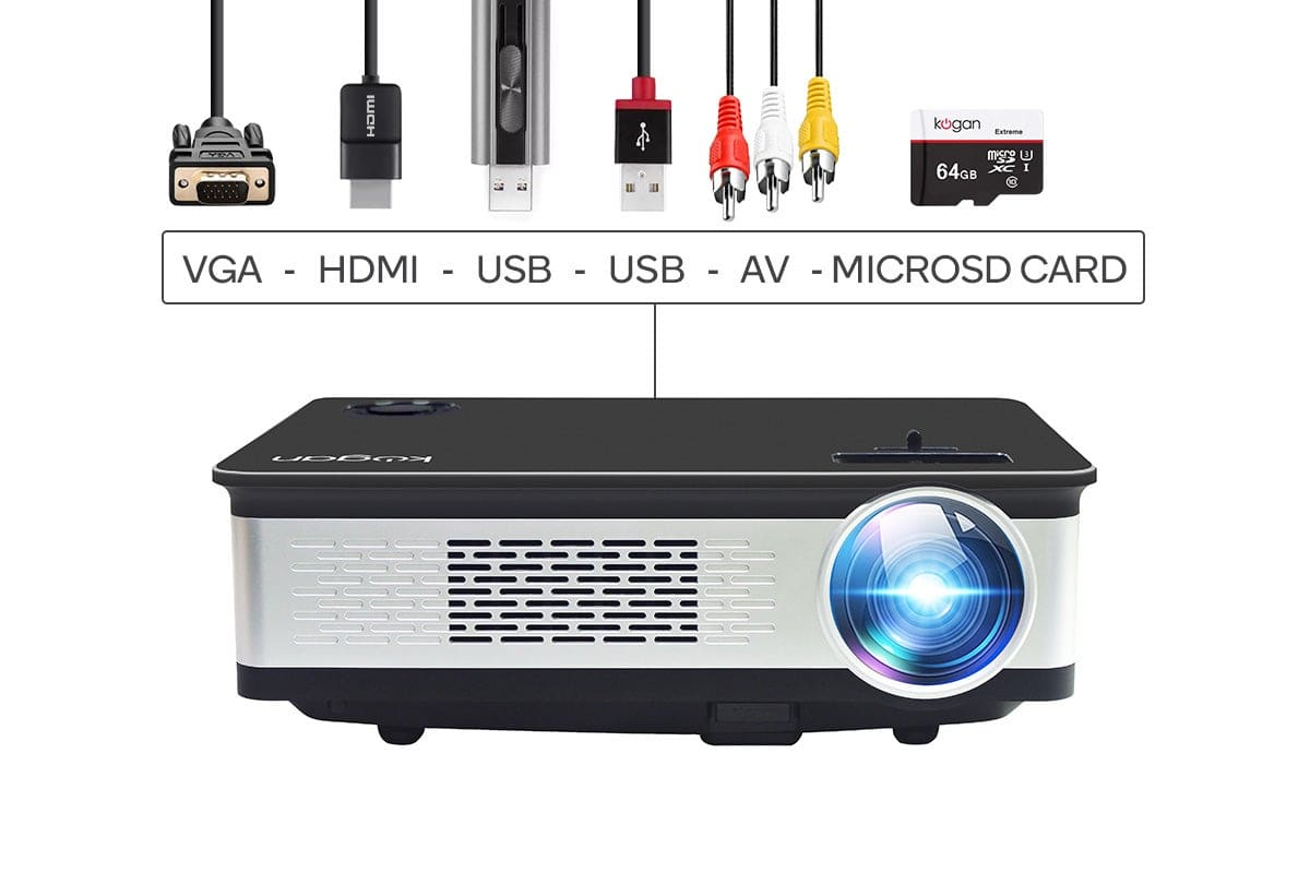 Kogan 3000 Lumens Full HD Projector Inputs