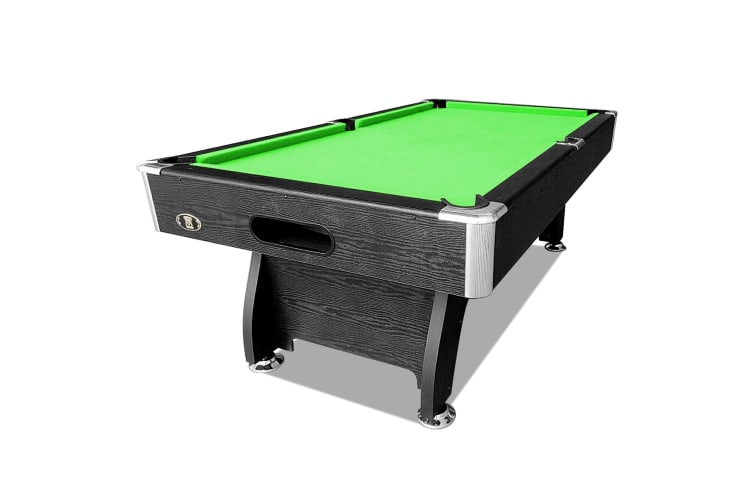 8FT MDF Pool Table Snooker Billiard Table with Accessories Pack, Black Frame with Green Felt