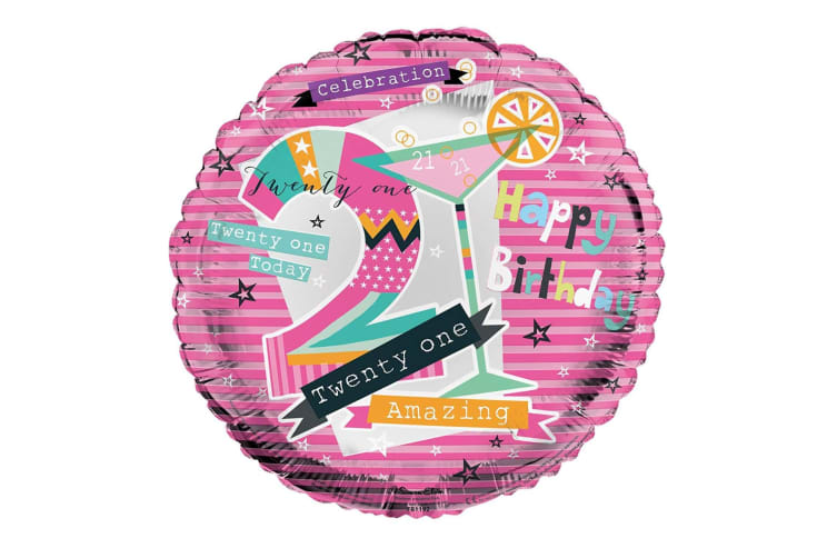 Simon Elvin Happy 21st Birthday 46cm/18in Foil Balloon (Pink) (One Size)