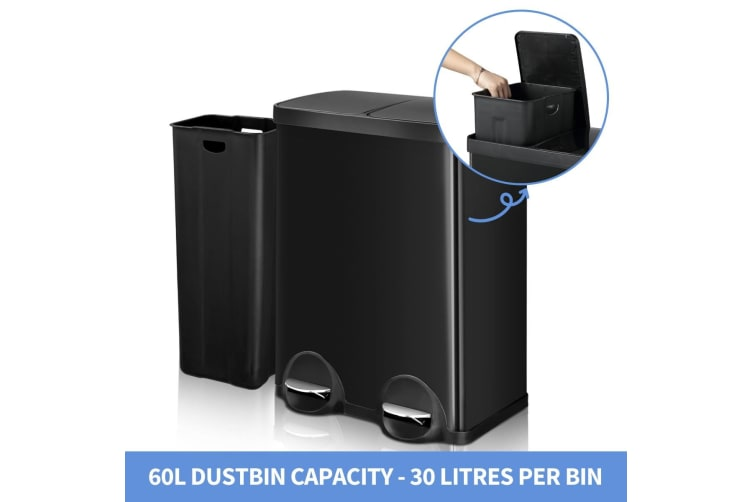 60L Dual Compartment Pedal Garbage Rubbish Bin Steel Shiny Black Kitchen Waste Trash Can