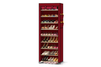 10 Tier Shoes Cabinet With Cover Burgundy