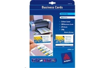 AVERY BUSINESS CARD LC32016-25 QUICK AND CLEAN 25 SHEETS