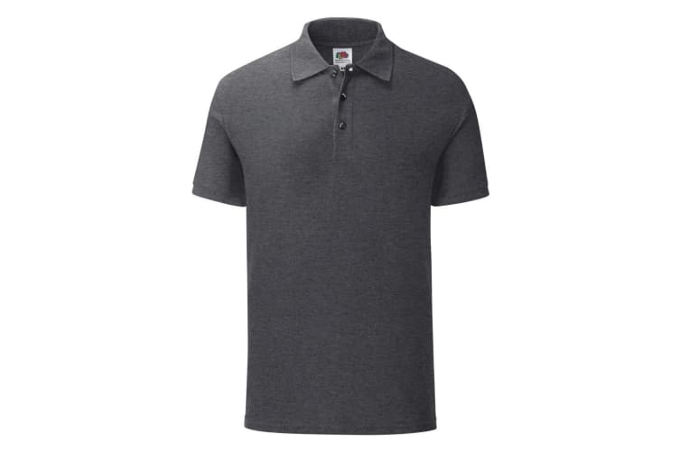 Fruit Of The Loom Mens Iconic Pique Polo Shirt (Dark Heather) (S)