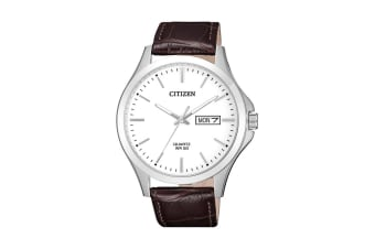 Citizen Men's Analog Quartz Watch with Day/Date & Soft Leather Strap - Brown (BF2001-12A)