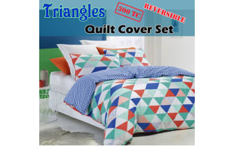300TC Triangles Reversible Quilt Cover Set SUPER KING