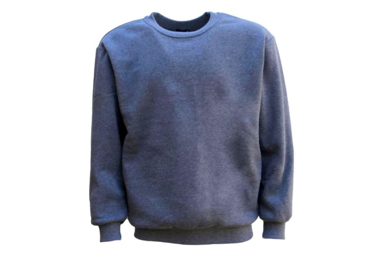 New Adult Unisex Plain Pullover Fleece Jumper Mens Long Sleeve Crew Neck Sweater - Grey
