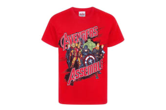 Marvel Official Boys Avengers Assemble T-Shirt (Red)
