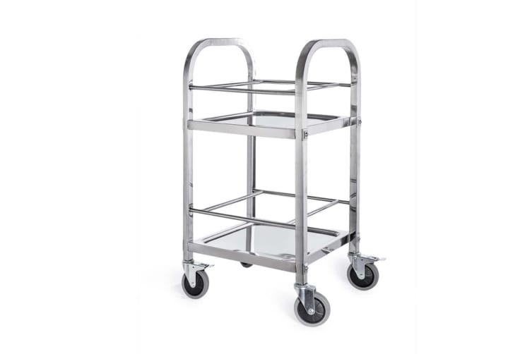 SOGA 2 Tier Stainless Steel Square Tube Drink Wine Food Utility Cart 500x500x950