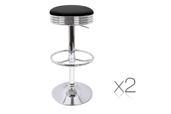 Set of 2 PU Leather Kitchen Bar Stool with Foot Rest (Black)