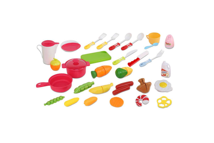 Keezi Kids Kitchen Set kitchens Playset Sets Trolley Food Toys Pretend Stovetop  Oven Toy Children Play Cookware Pink