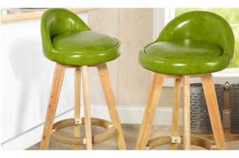 2 x Wooden Bar Stools Swivel Padded Leather Seat Dining Chairs Kitchen GREEN