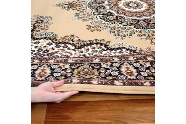Traditional Pattern Medallion Rug Beige 230x160cm