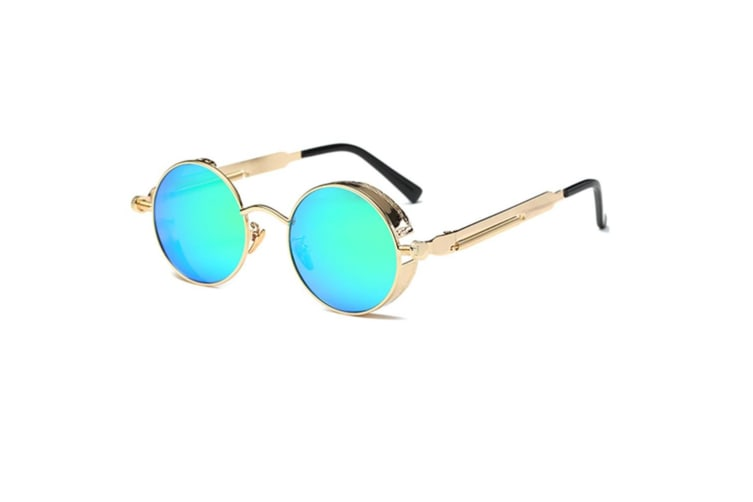 Round Sunglasses Metal Frame Mirrored Circle Lens   GreenLens