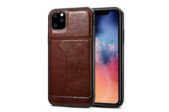 For iPhone 11 Pro Max Dibase TPU + PC + PU Wild Horse Texture Protective Case Wallet  Coffee