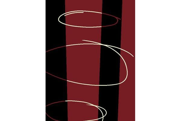 Retro Pattern Rug Red Black Off White 230x160cm