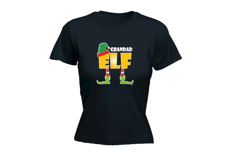 123T Funny Tee - Elf Grandad - (Medium Black Womens T Shirt)