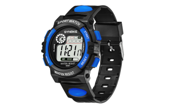 Men'S Electronic Fashion Multifunctional Sports Waterproof Watch Blue