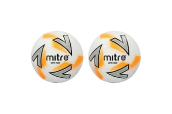 2x Mitre Impel Plus SZ 5 Stitched PVC 30 Panel Soccer/Football Training Ball WHT