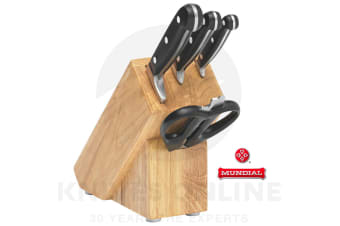 MUNDIAL 5 PIECE KNIFE BLOCK SET WOODEN 5PC STAINLESS STEEL SCISSORS 70005