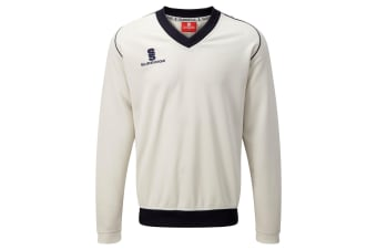 Surridge Boys Junior Fleece Lined Sweater Sports / Cricket (White/ Navy trim)